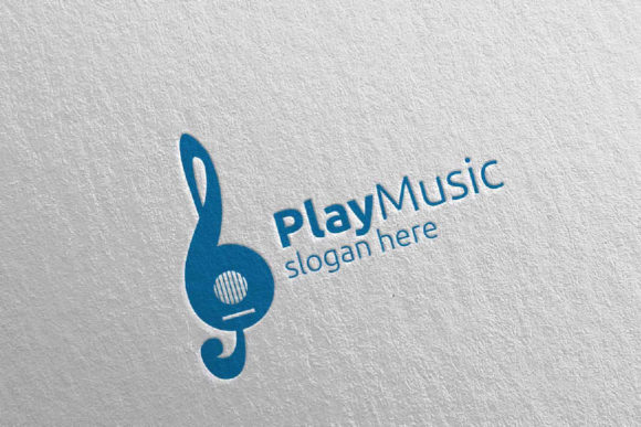 Download Free Music Logo With Note And Guitar Concept Graphic By Denayunecf for Cricut Explore, Silhouette and other cutting machines.