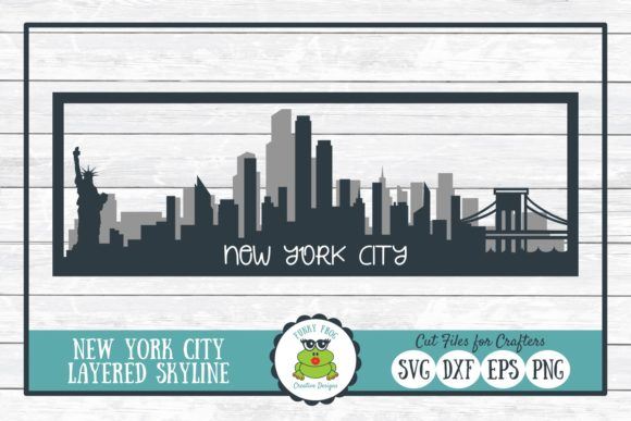 New York City Layered Skyline Graphic Crafts By funkyfrogcreativedesigns