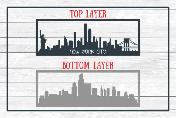 Download Free New York City Layered Skyline Graphic By for Cricut Explore, Silhouette and other cutting machines.