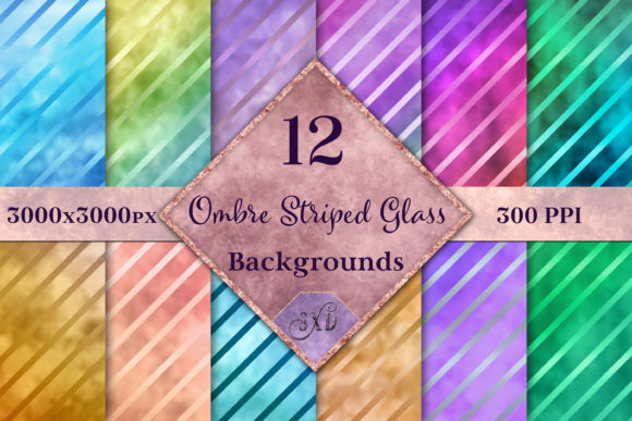 Print on Demand: Ombre Striped Glass Backgrounds Graphic Backgrounds By SapphireXDesigns