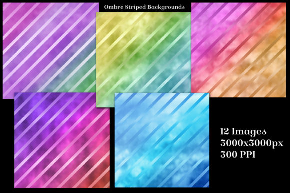 Print on Demand: Ombre Striped Glass Backgrounds Graphic Backgrounds By SapphireXDesigns - Image 2