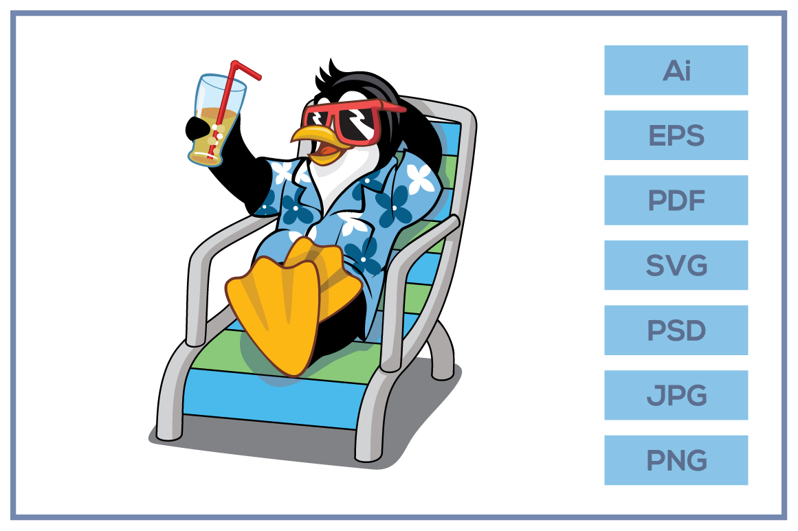 Download Free Penguin Wearing Awaiian Shirt Design Graphic By Leamsign for Cricut Explore, Silhouette and other cutting machines.
