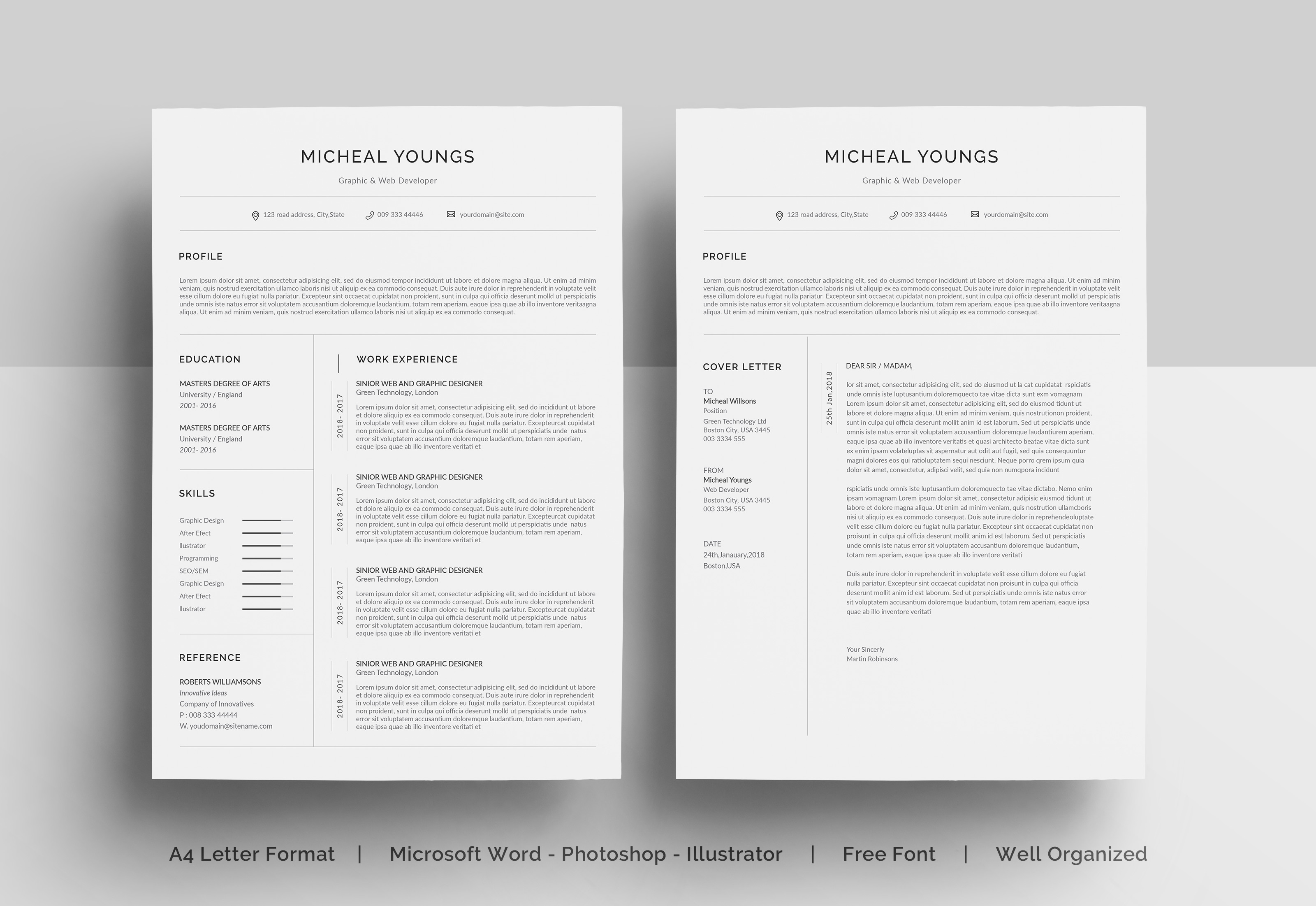 Download Free Resume Template In Word Graphic By Etiranipaul91 Creative Fabrica for Cricut Explore, Silhouette and other cutting machines.