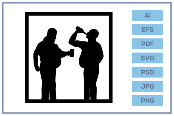 Download Free Silhouette Of Men With Beer Bellies Graphic By Leamsign for Cricut Explore, Silhouette and other cutting machines.