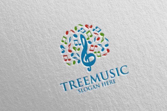 Tree Music Logo with Note and Tree 51 Graphic Logos By denayunecf - Image 1