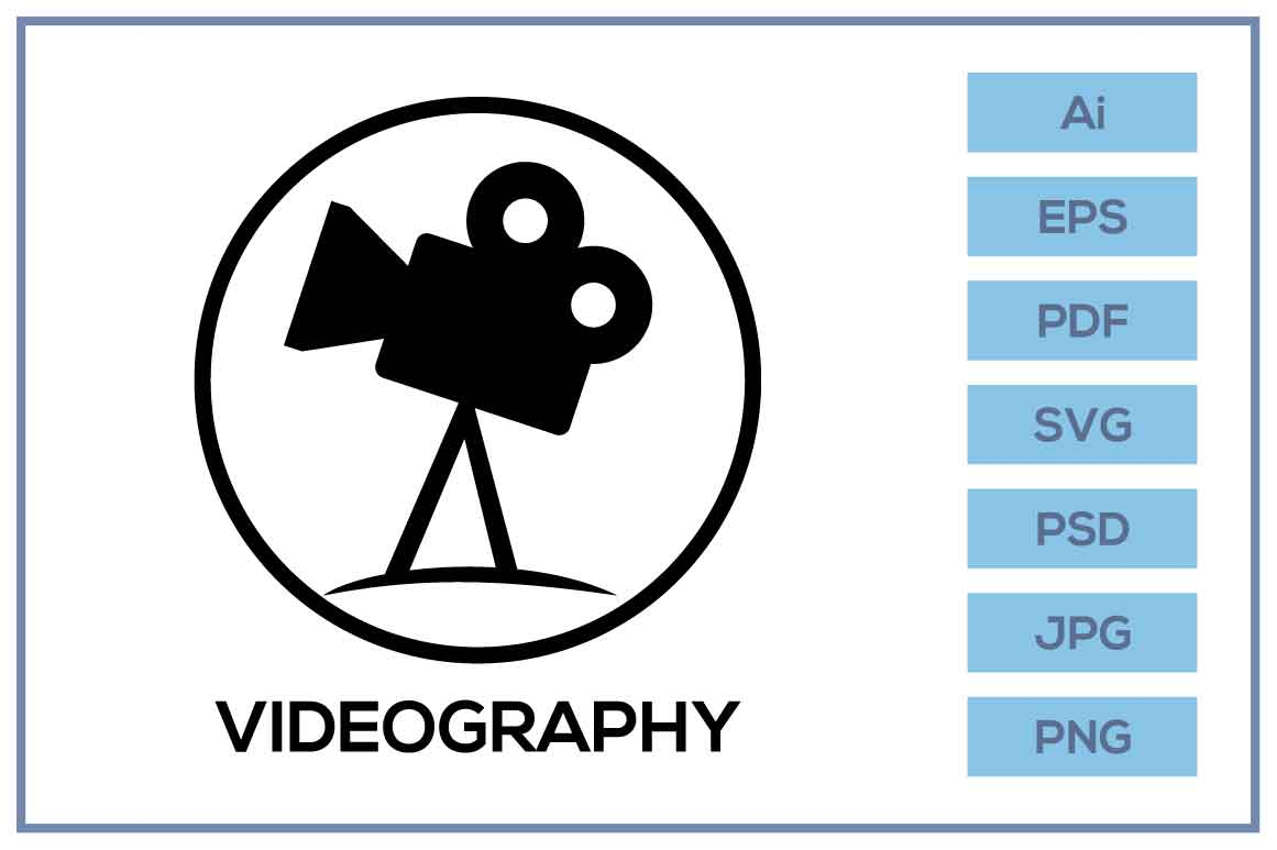 Download Free Videography Logo Sign Design Graphic By Leamsign Creative Fabrica for Cricut Explore, Silhouette and other cutting machines.