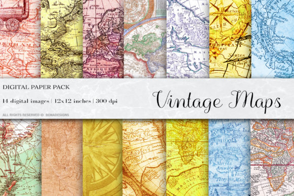 Vintage Maps Digital Papers Graphic Backgrounds By BonaDesigns