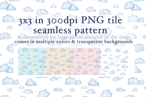 Print on Demand: Watercolor Clouds Seamless Pattern Graphic Patterns By Tubiganart