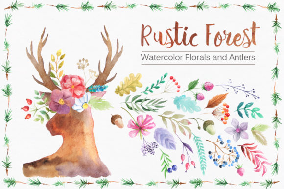 Watercolor Rustic Forest Set Graphic Illustrations By Larysa Zabrotskaya