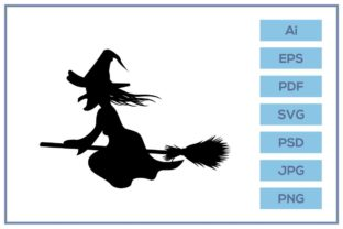 Download Free Witch Riding Broom Flying Silhouette Graphic By Leamsign for Cricut Explore, Silhouette and other cutting machines.