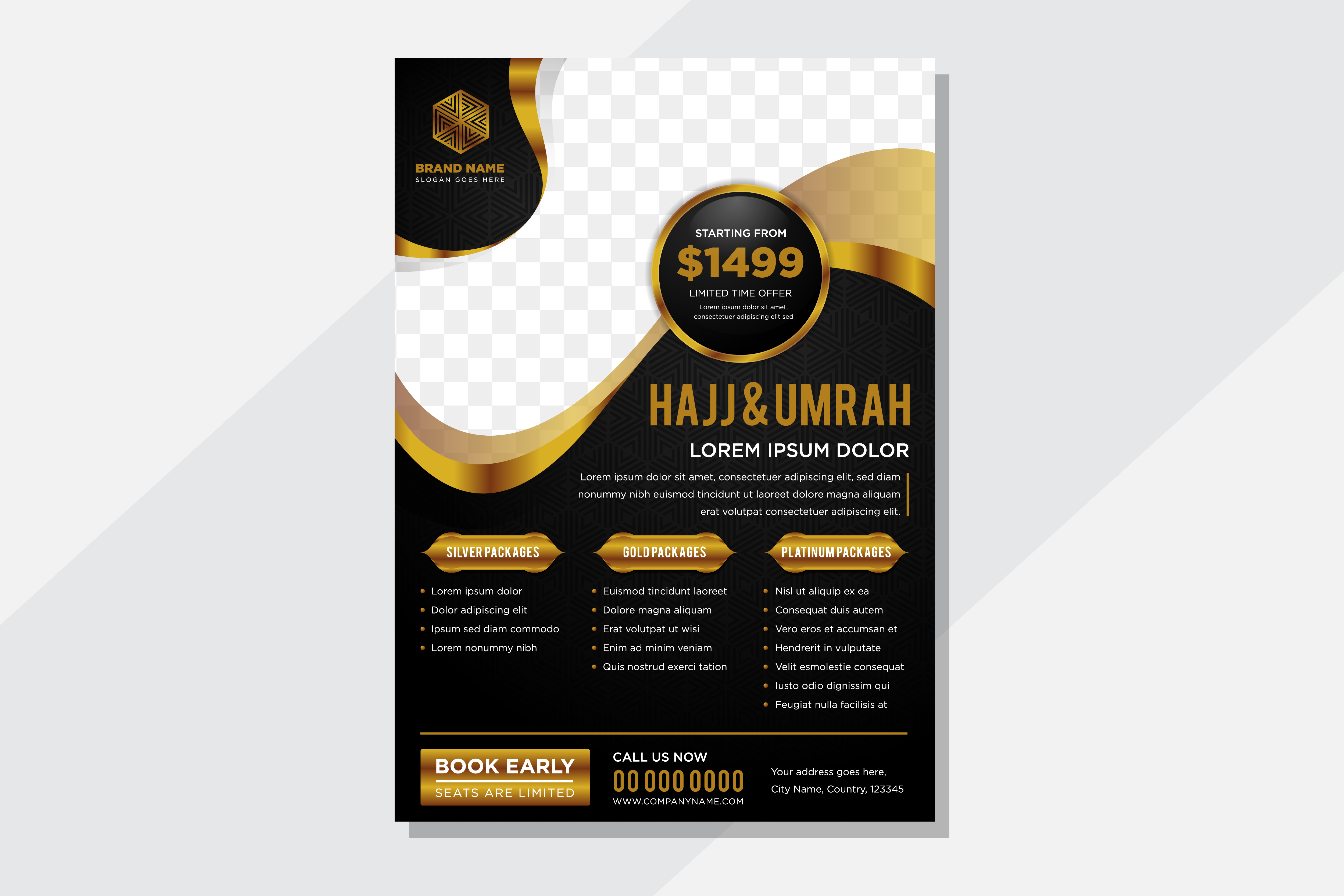 Download Free Black Gold Hajj Umrah Flyer Wave Graphic By Noory Shopper for Cricut Explore, Silhouette and other cutting machines.