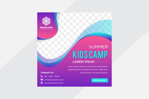 Print on Demand: Blue Purple Gradient Color Square Banner Graphic Graphic Templates By noory.shopper