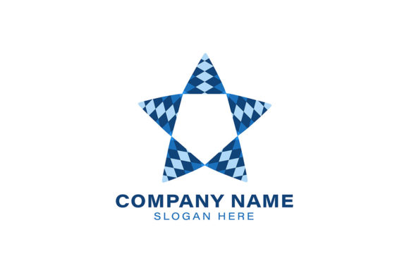 Geometric Blue Star Logo Ideas Inspirat Graphic By