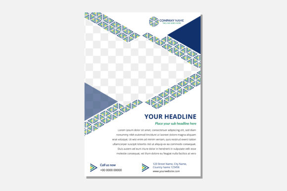 Print on Demand: Green Blue Triangle Photo Frame Flyer Graphic Graphic Templates By noory.shopper