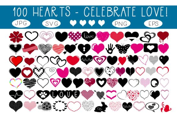 Print on Demand: 100 Hearts - Celebrate Love! Graphic Illustrations By capeairforce
