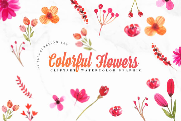 15 Watercolor Flowers Set Illustration Graphic Crafts By TMint
