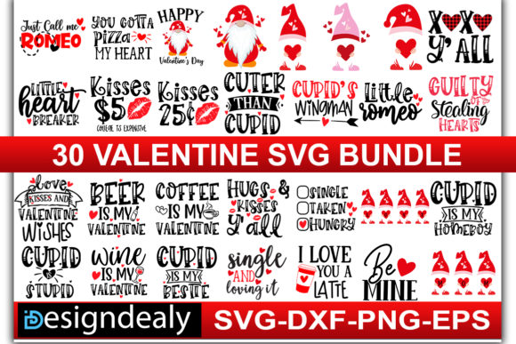 Print on Demand: 30 Valentine Bundle Graphic Print Templates By Designdealy.com