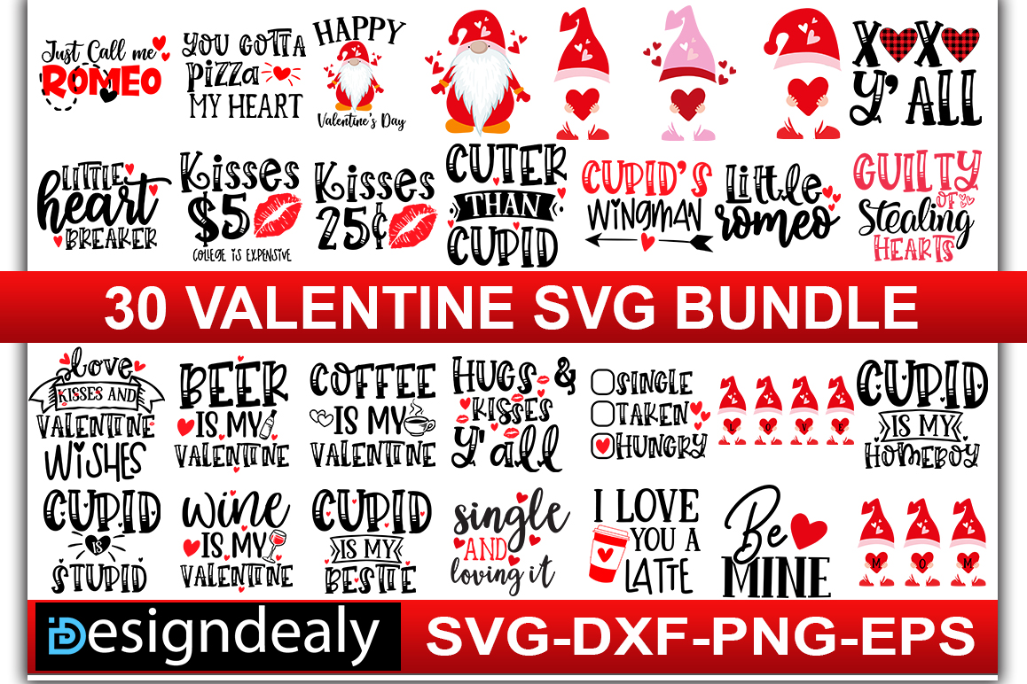 Download Free 30 Valentine Bundle Graphic By Designdealy Com Creative Fabrica for Cricut Explore, Silhouette and other cutting machines.