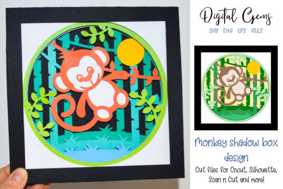 Download Free 3d Monkey Shadow Box Design Graphic By Digital Gems Creative for Cricut Explore, Silhouette and other cutting machines.