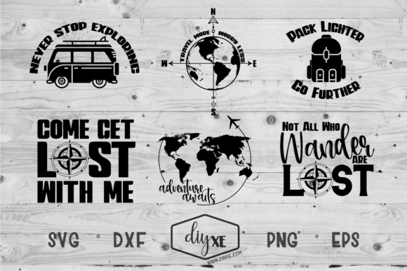 Download Free Adventure Awaits Bundle Graphic By Sheryl Holst Creative Fabrica for Cricut Explore, Silhouette and other cutting machines.