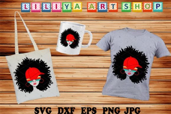 Download Free Woman With Hat Svg Afro Woman Svg Graphic By Liliyaartshop for Cricut Explore, Silhouette and other cutting machines.