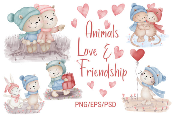 Print on Demand: Animals Love Friendship Tiger Bear Cat Gráfico Ilustraciones Por PawStudio