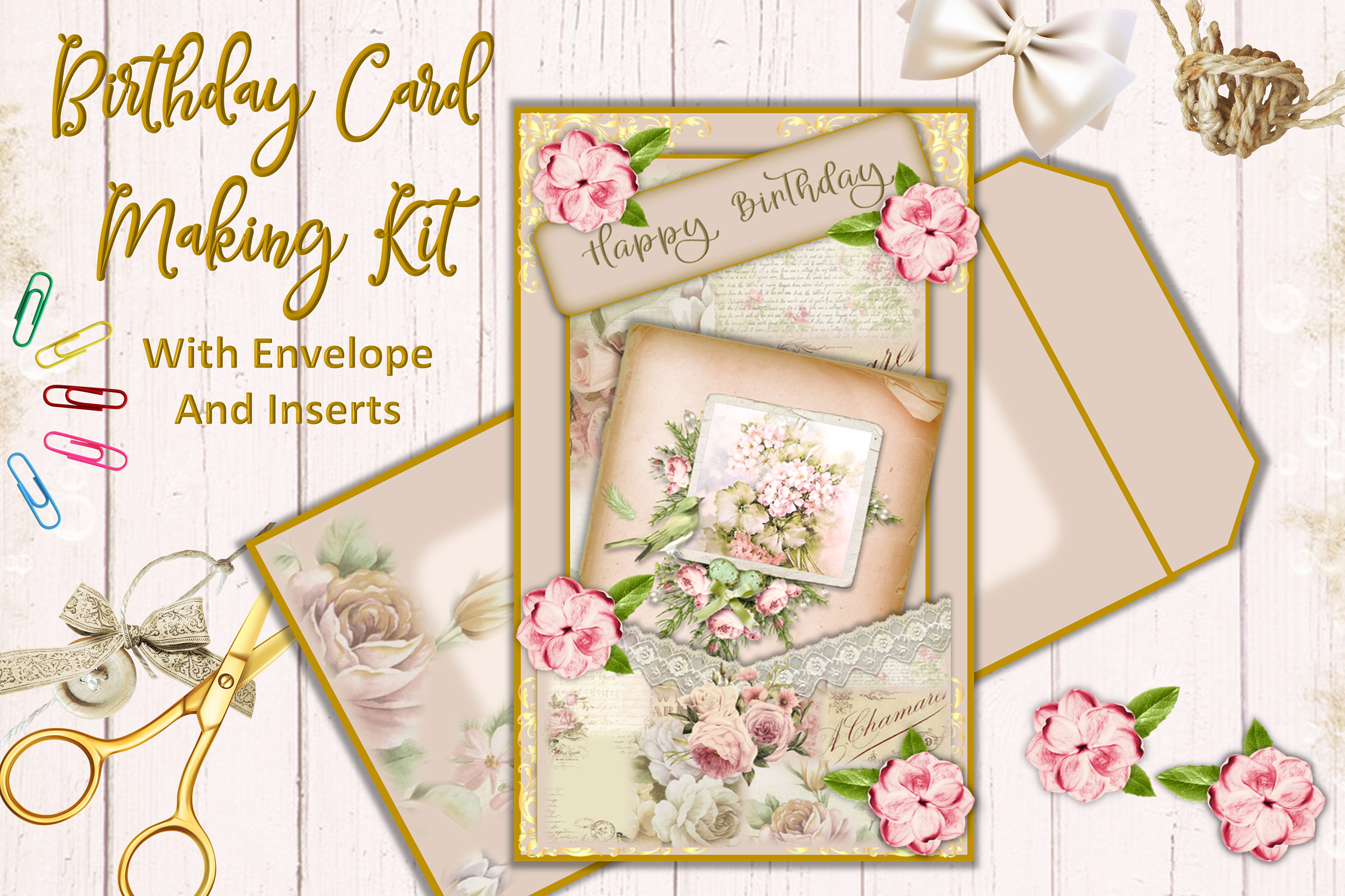 Download Free Birthday Card Making Kit Graphic By Digitalcraftsco Creative Fabrica for Cricut Explore, Silhouette and other cutting machines.