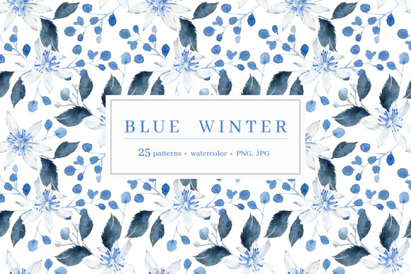 Print on Demand: Blue Winter Patterns Graphic Patterns By dinkoobraz