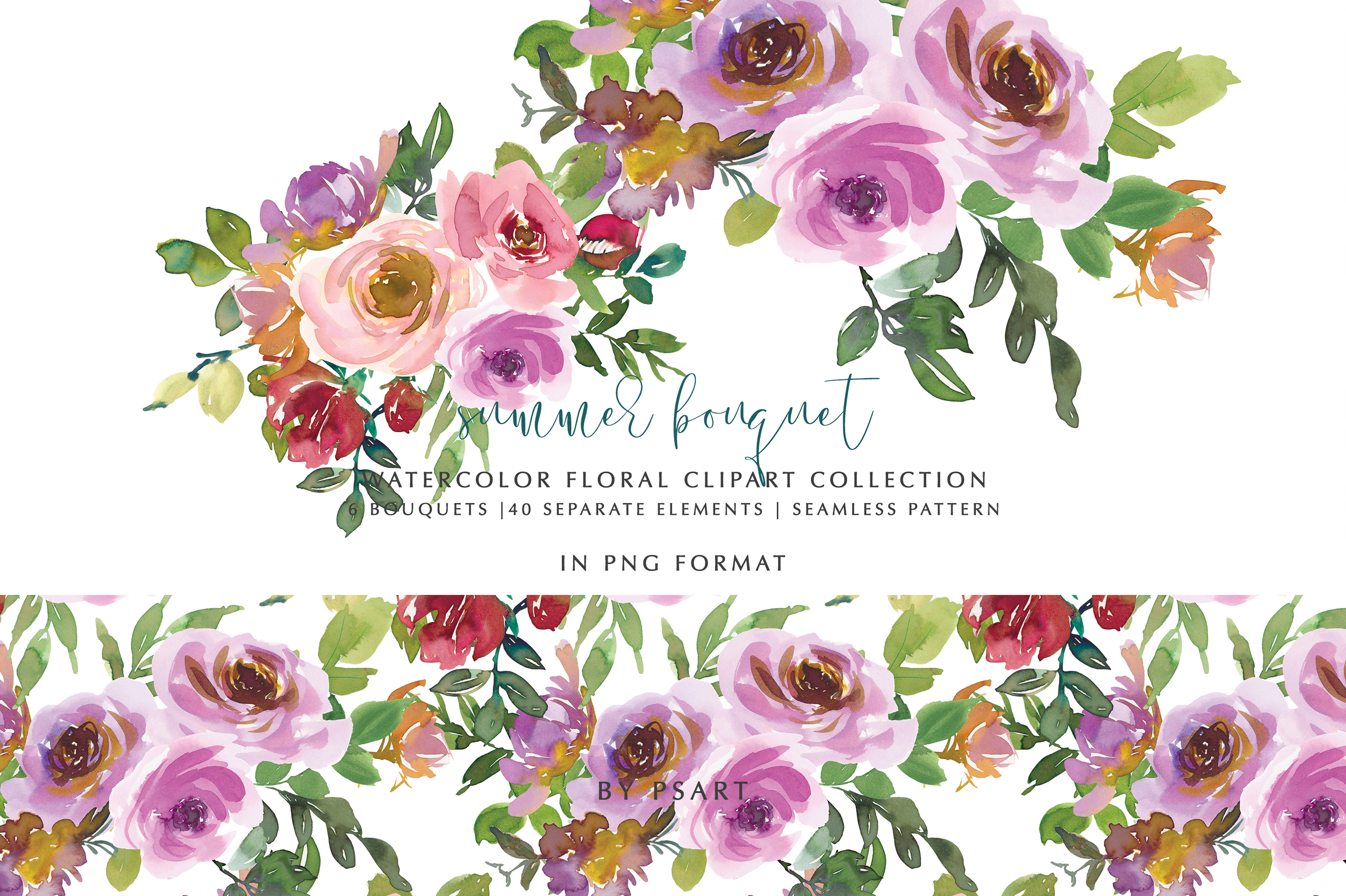 Download Free Blush Pink Purple Watercolor Florals Graphic By Patishop Art for Cricut Explore, Silhouette and other cutting machines.