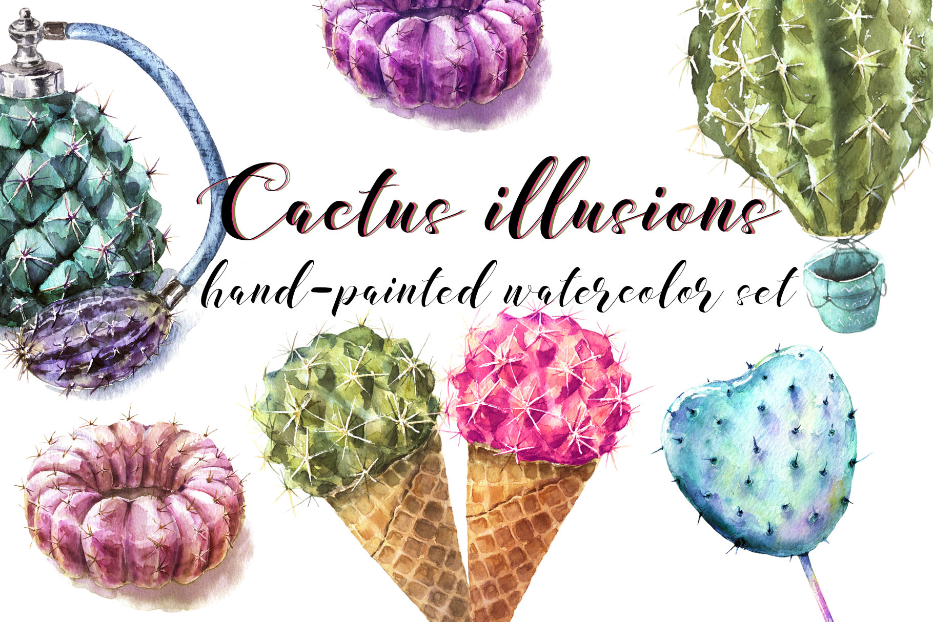 Download Free Cactus Illusions Watercolor Set Graphic By Cat In Colour for Cricut Explore, Silhouette and other cutting machines.