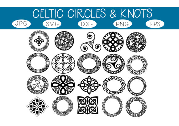 Download Free Celtic Circles Knots Graphic By Capeairforce Creative Fabrica for Cricut Explore, Silhouette and other cutting machines.