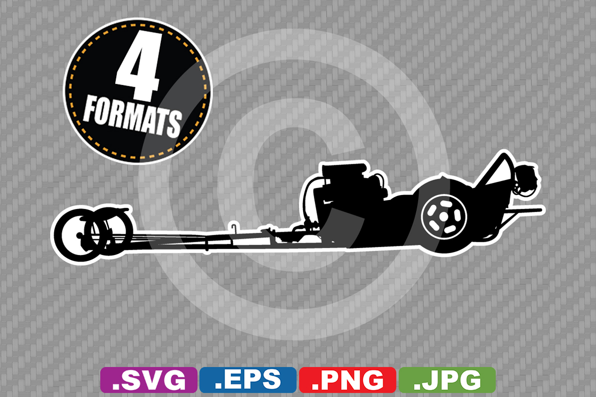 Download Free Classic Dragster Race Car Silhouette Graphic By for Cricut Explore, Silhouette and other cutting machines.