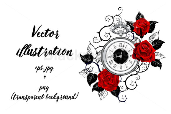 Contour Clock with Red Roses Graphic Illustrations By Blackmoon9 - Image 1