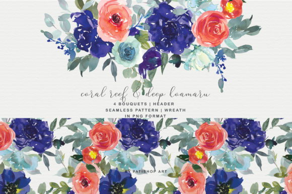 Coral Reef and Deep Koamaru Floral Bouqu Graphic Illustrations By Patishop Art