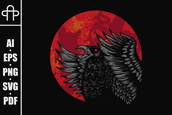 Download Free Crow Red Moon Grafico Por Andypp Creative Fabrica for Cricut Explore, Silhouette and other cutting machines.