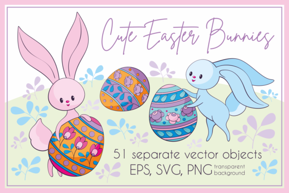 Print on Demand: Cute Easter Bunnies. Vector Clip Arts Graphic Illustrations By Olga Belova