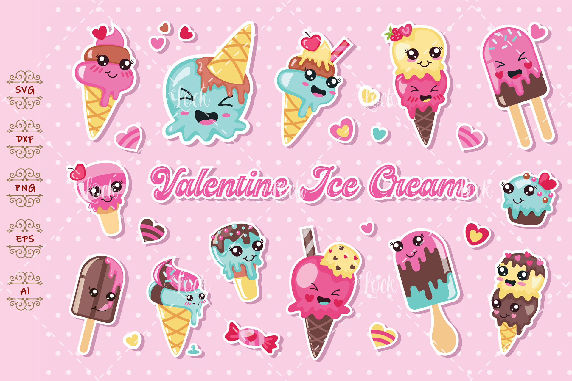 Download Free Cute Ice Cream Element Graphic By Allmostudio Creative Fabrica for Cricut Explore, Silhouette and other cutting machines.