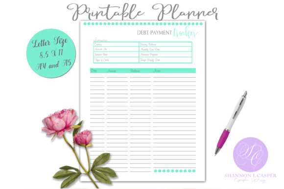 Download Free Debt Payment Tracker Letter Size A4 A5 Graphic By Shannon Casper Creative Fabrica SVG Cut Files