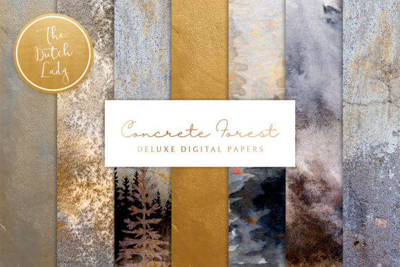 Print on Demand: Digital Backgrounds - Concrete Forest Gráfico Texturas Por daphnepopuliers