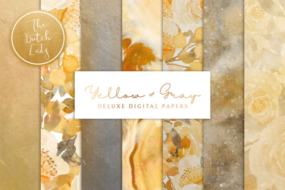Print on Demand: Digital Backgrounds - Yellow & Gray Gráfico Fondos Por daphnepopuliers