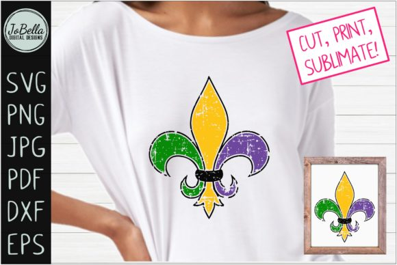 Download Free Distressed Mardi Gras Fleur De Lis Graphic By Jobella Digital for Cricut Explore, Silhouette and other cutting machines.