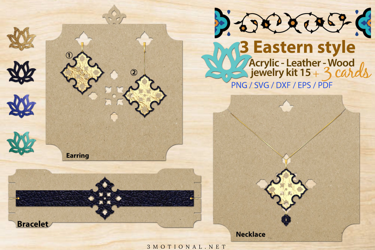 Download Free Eastern Style Acrylic Leather Wood Kit15 Graphic By 3motional for Cricut Explore, Silhouette and other cutting machines.
