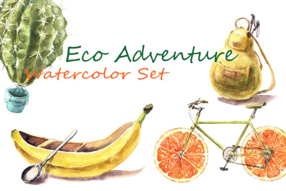 Eco Adventure Watercolor Set Graphic Illustrations By Cat In Colour