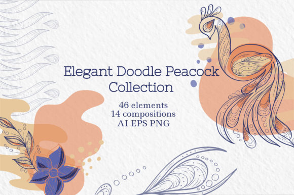 Elegant Doodle Peacock Collection Graphic Objects By Tatyana_Zenartist