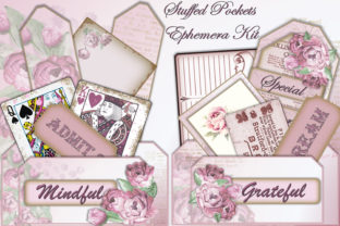 Download Free Ephemera Kit For Junk Journals Cards Graphic By Digitalcraftsco for Cricut Explore, Silhouette and other cutting machines.