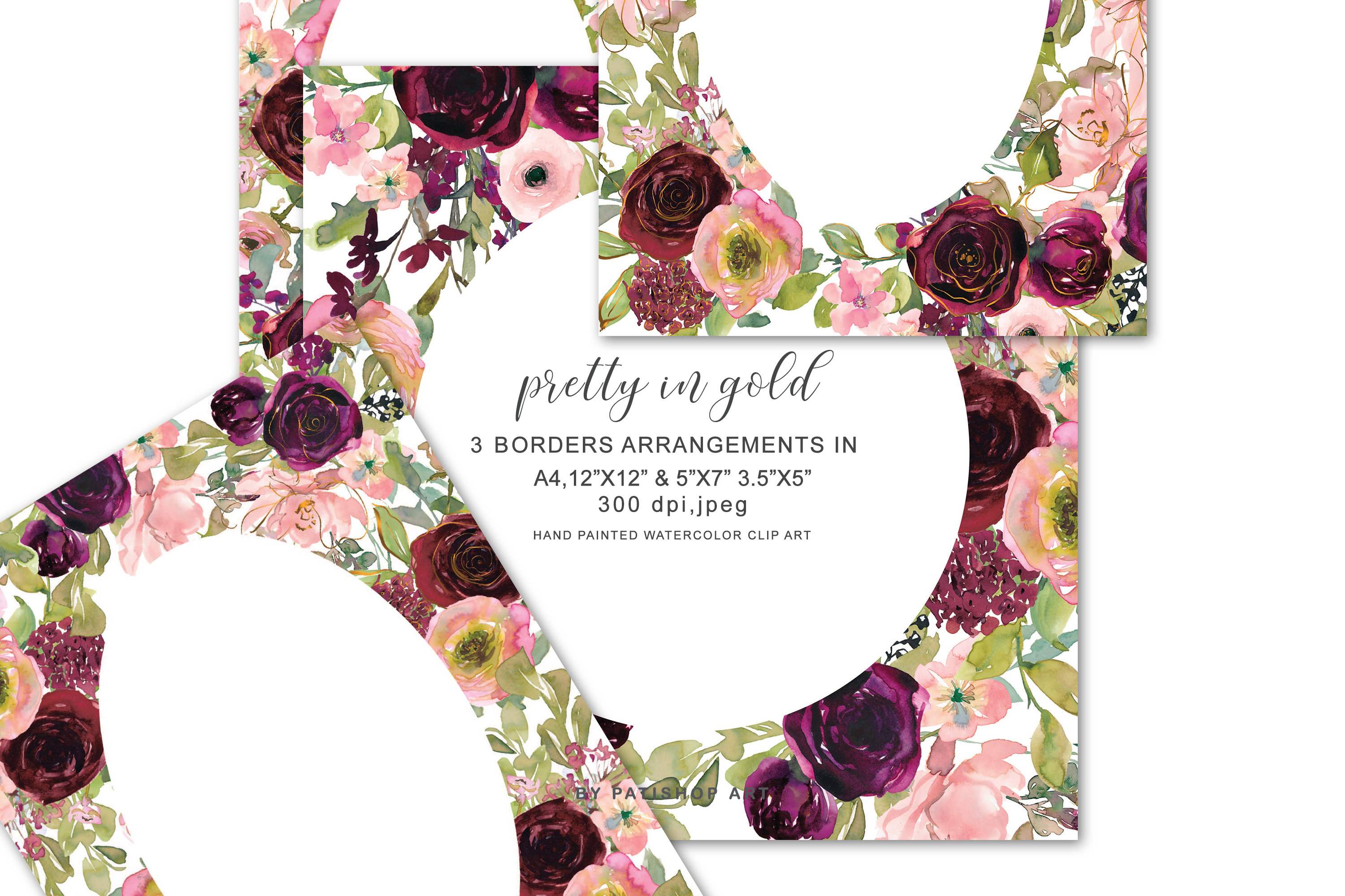 Download Free Floral Watercolor Border Arrangements Graphic By Patishop Art for Cricut Explore, Silhouette and other cutting machines.