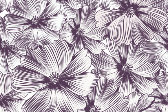 Floral Vector Pattern with Cosmos Flower Graphic Patterns By fleurartmariia