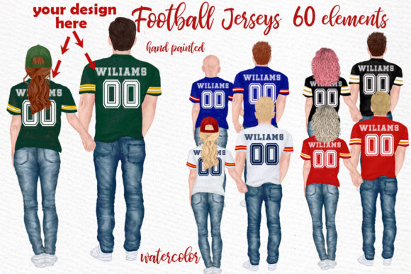 Football Jerseys, Jersey Clipart BFF Graphic Illustrations By LeCoqDesign