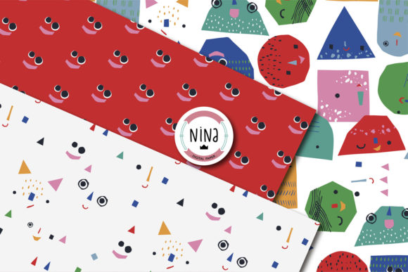 Download Free Funny Geometric Faces Digital Paper Graphic By Nina Prints for Cricut Explore, Silhouette and other cutting machines.