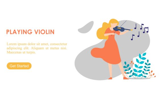 Download Free Girl Enjoying Hobbies Playing Violin Graphic By Deemka Studio for Cricut Explore, Silhouette and other cutting machines.